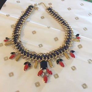 Rhinestones and Leather Braided Necklace NWOT